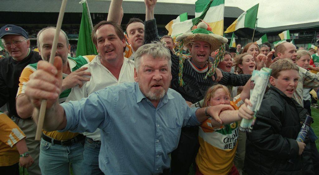All Ireland Semi-Final 22/8/1998; Offaly v Clare Angry Offaly fans protest at the end of the match when the ref blew the match up early © INPHO/James Meehan