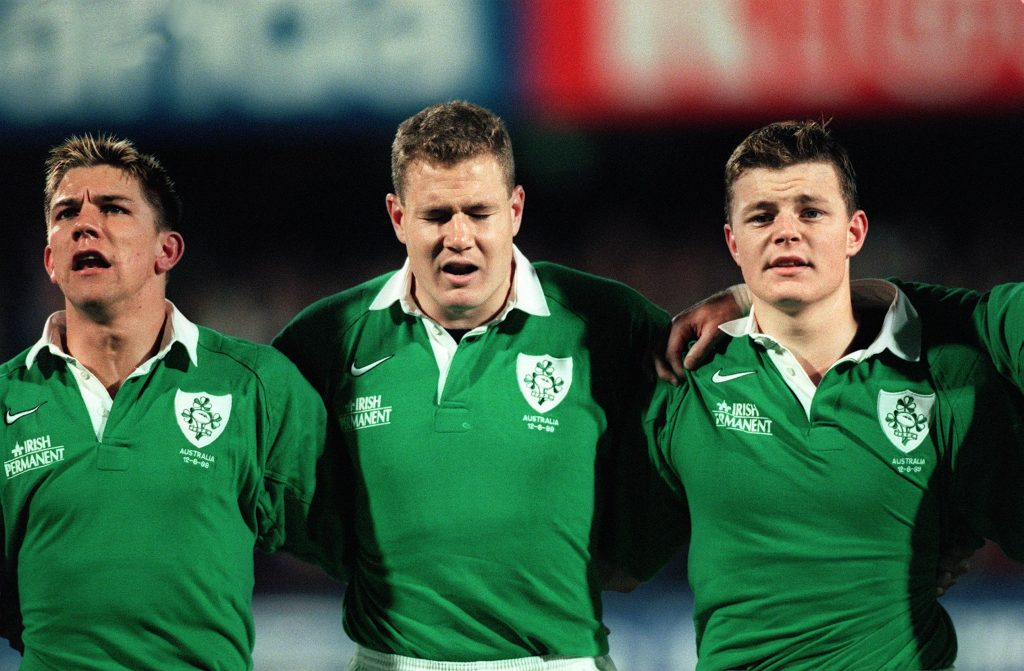 Australia vs Ireland First Test, Ballymore, Brisbane. 12/6/1999. Justin Bishop, Matt Mostyn and Brian O'Driscoll during the Anthems. ©INPHO/Patrick Bolger