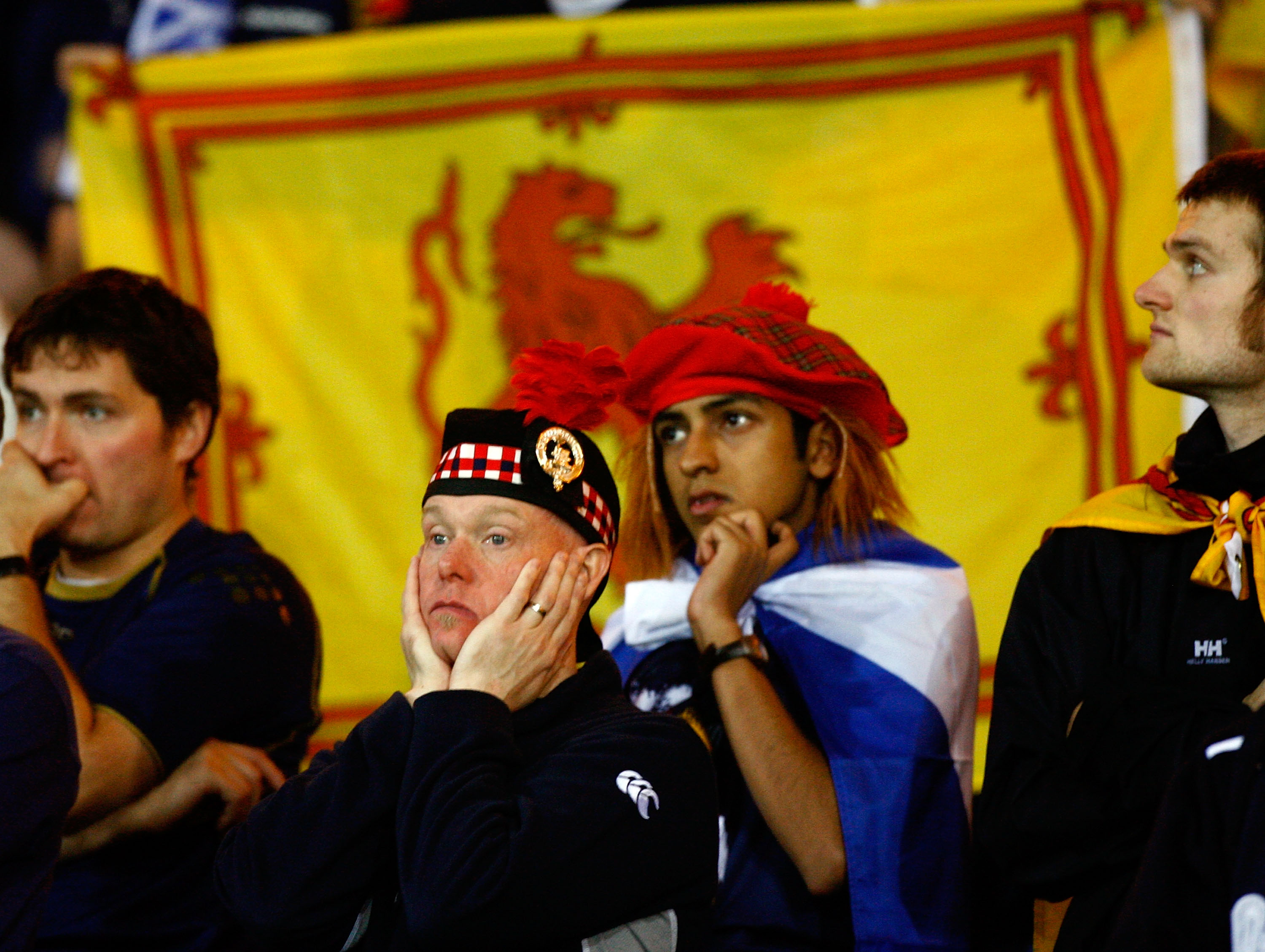 GLASGOW, UNITED KINGDOM - NOVEMBER 17: Scotland fans react at the end of UEFA Euro 2008 qualifiying match between Italy and Scotland at Hampden Park on November 17, 2007 in Glasgow, Scotland. (Photo by Jeff J Mitchell/Getty Images)