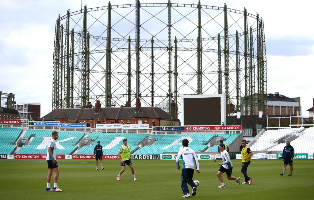 LONDON, ENGLAND - AUGUST 09: England start the session with a football match during the England and Pakistan nets session at The Kia Oval on August 9, 2016 in London, England. (Photo by Charlie Crowhurst/Getty Images)