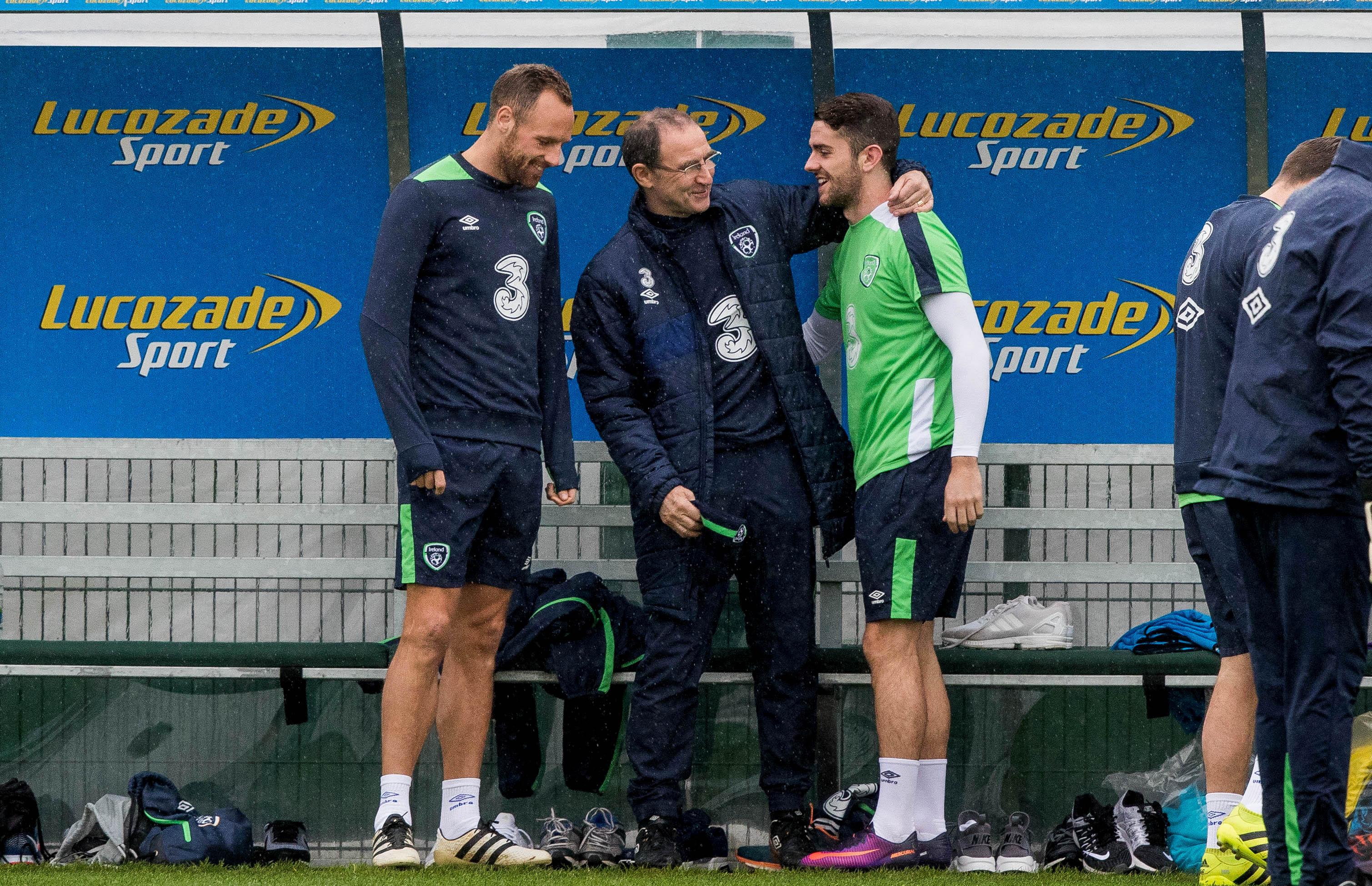 Martin O'Neill with Robbie Brady and David Meyler 8/11/2016