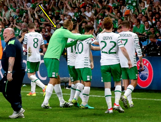 Shane Long celebrates at the final whistle 22/6/2016
