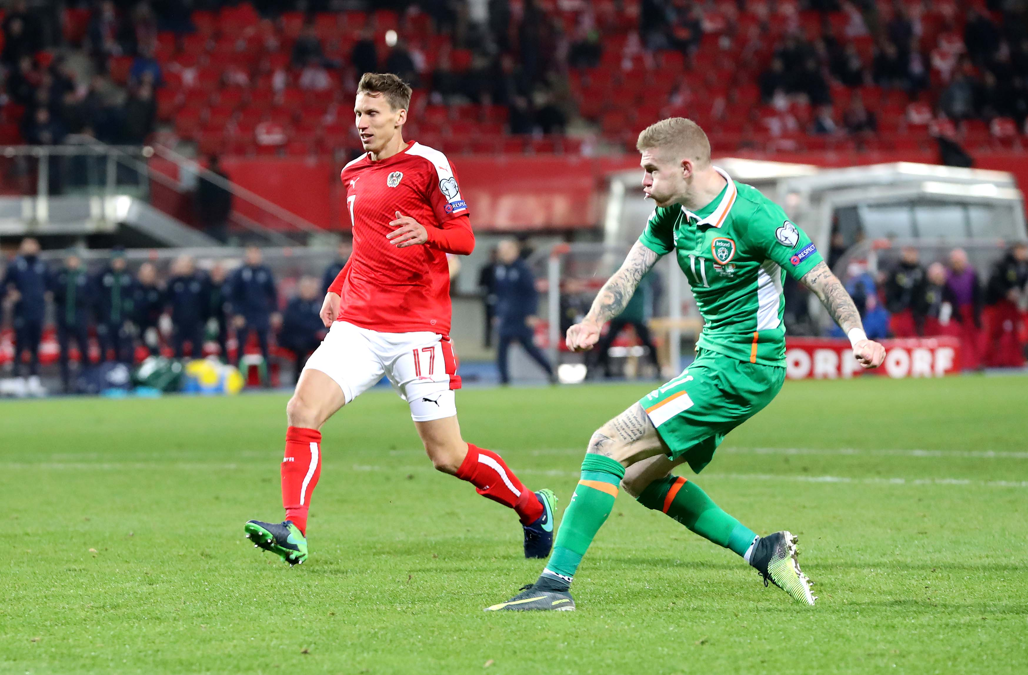 2018 FIFA World Cup Qualifier, Ernst-Happel-Stadion, Vienna, Austria 12/11/2016 Austria vs Republic of Ireland Ireland's James McClean scores the opening goal of the game Mandatory Credit ©INPHO/Ryan Byrne