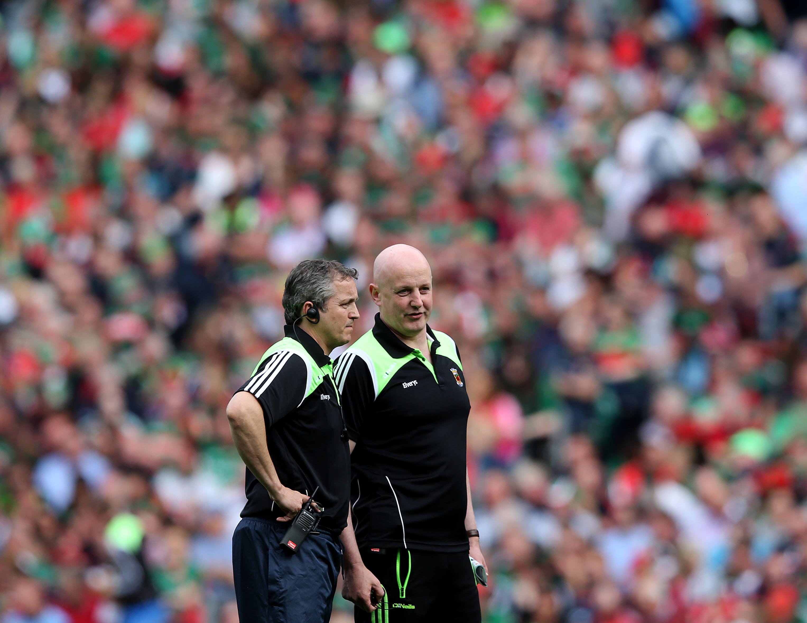GAA Football All Ireland Senior Championship Semi-Final, Croke Park, Dublin 30/8/2015.Dublin vs Mayo.Mayo co managers Noel Connelly and Pat Holmes .Mandatory Credit ©INPHO/Ryan Byrne
