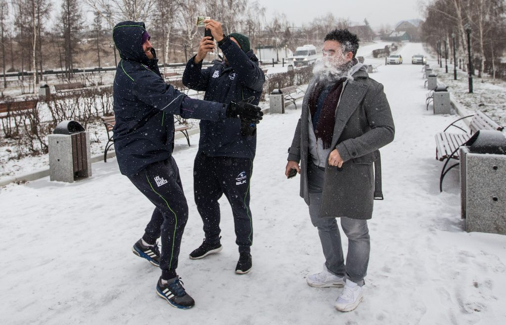 Connacht Players in Krasnoyarsk, Russia 13/11/2015 Aly Muldowney throws a snowball at Denis Buckley feels the cold Mandatory Credit ©INPHO/James Crombie