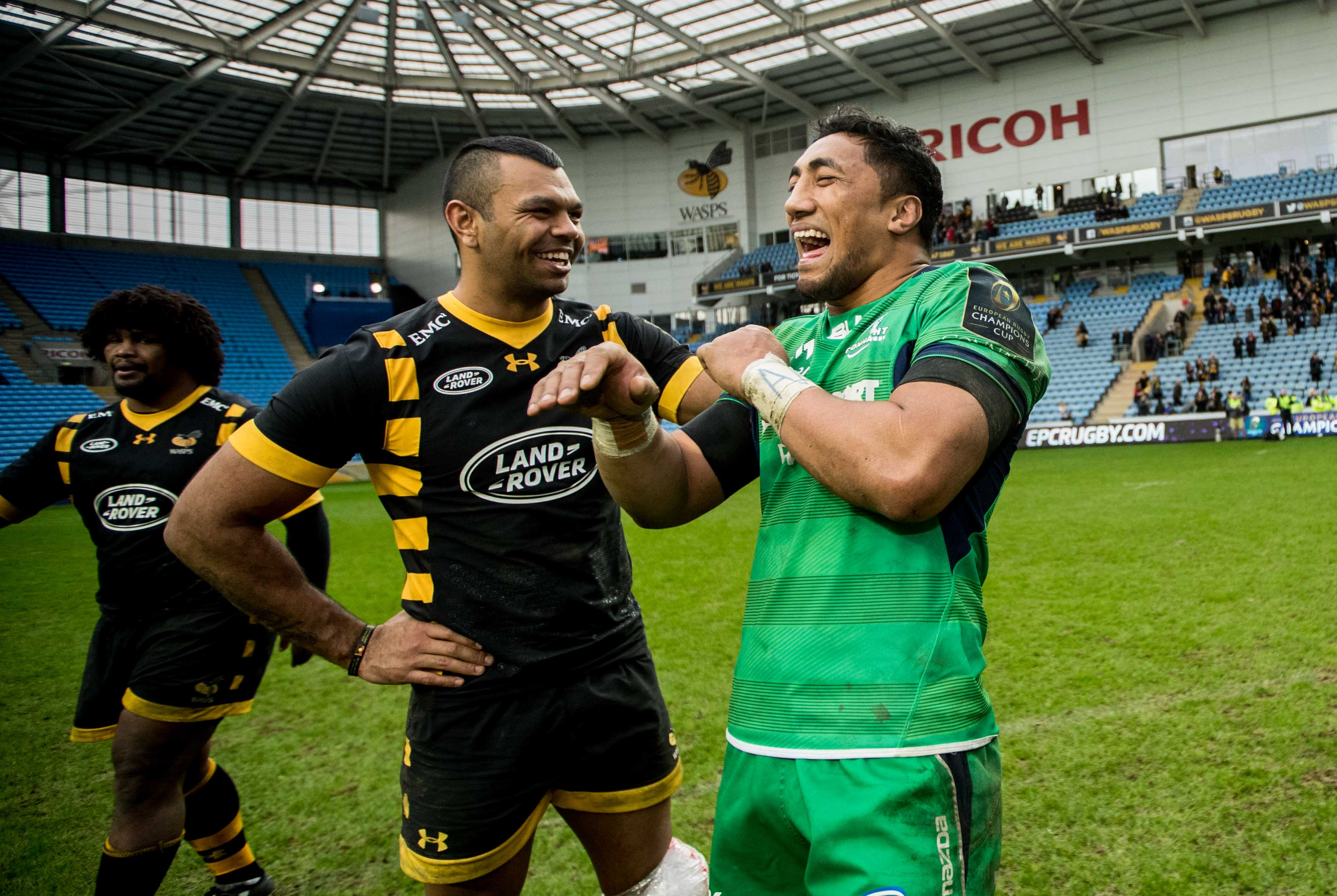 European Rugby Champions Cup Round 3, Ricoh Arena, Coventry, England 11/12/2016 Wasps vs Connacht  Wasps' Kurtley Beale and Bundee Aki of Connacht after the game Mandatory Credit ©INPHO/James Crombie