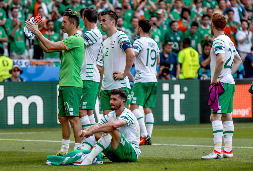 2016 UEFA European Championship Round Of 16, Parc Olympique Lyonnais, Lyon, France 26/6/2016 Republic of Ireland vs France Ireland's Shane Long dejected after the game Mandatory Credit ©INPHO/James Crombie