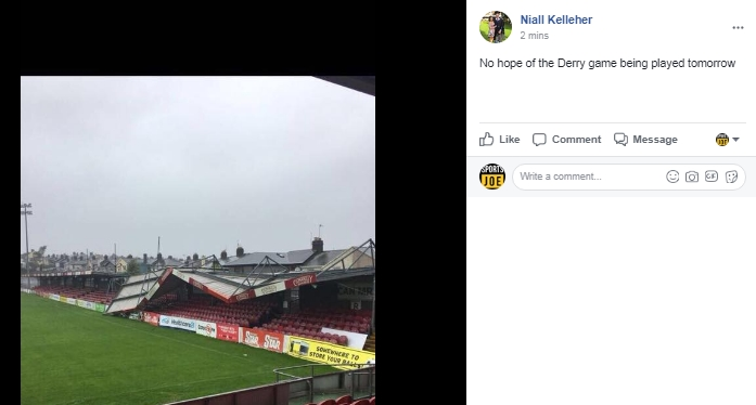 Turner's Cross damaged as game set to be postponed